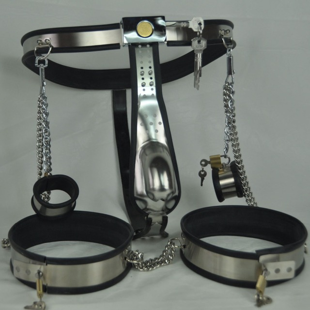 Newest stainless steel male chastity belt device 3 pcs/set( chastity belts panties+handcuffs+thigh ring cuff) bdsm bondage toys
