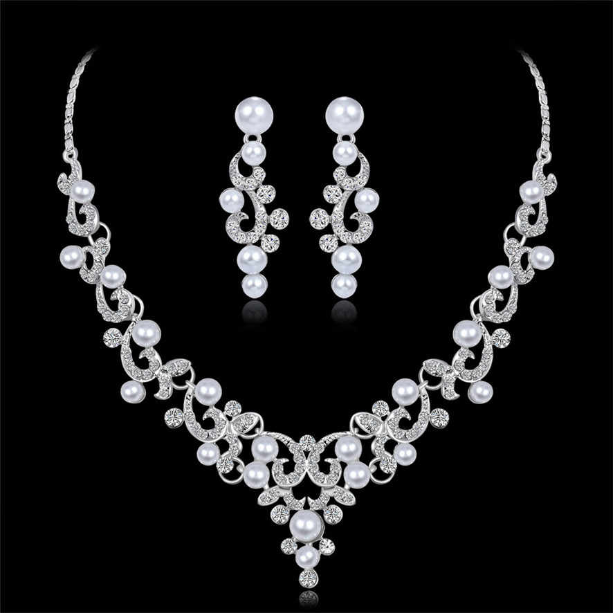 choker necklaces crystal Women Alloy Rhinestone Pearl Necklace Earrings pendants    392510