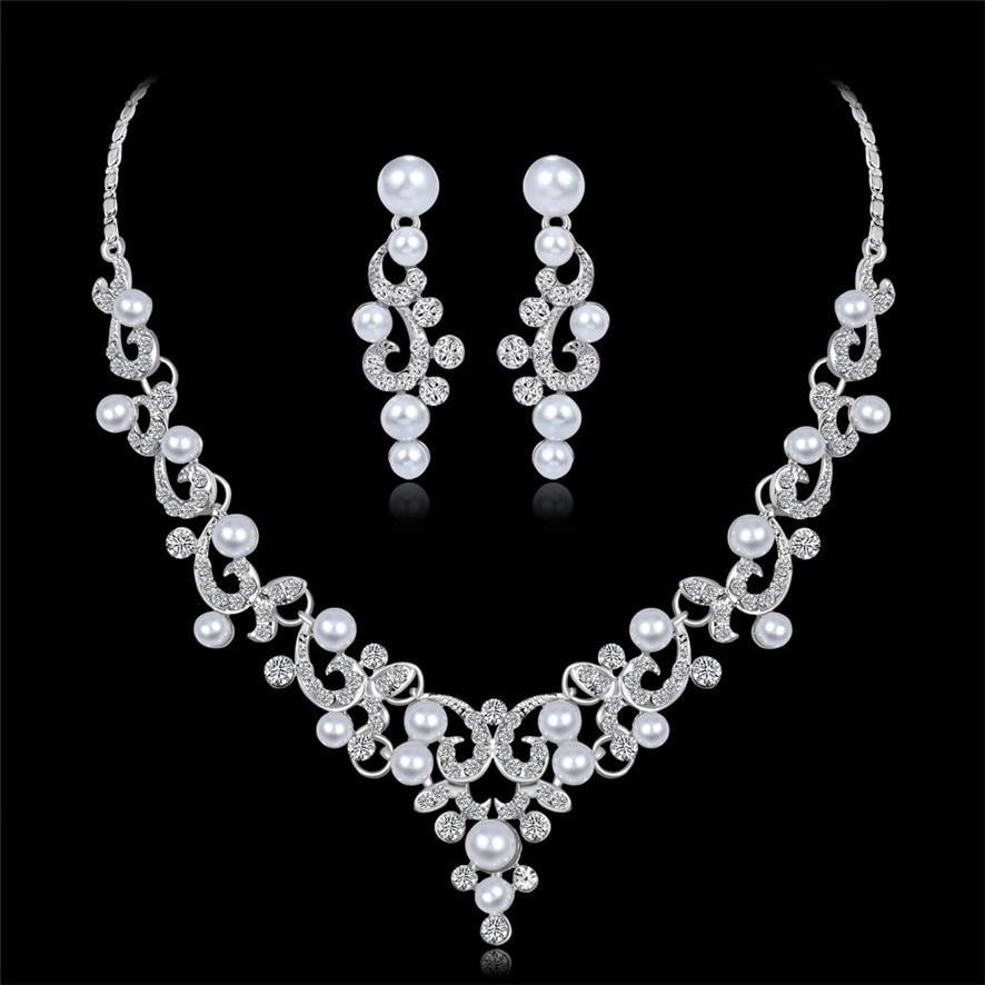 choker necklaces crystal Women Alloy Rhinestone Pearl Necklace Earrings pendants 392510