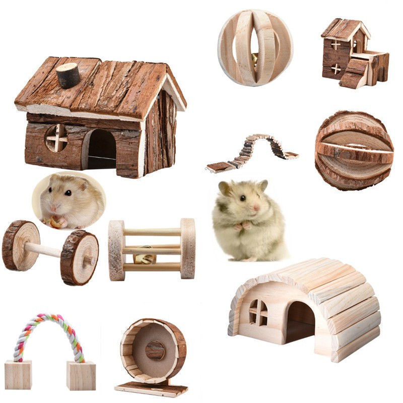 Hot Sale Natural Pine Dumbells Unicycle Bell Roller Chew Toy For Guinea Pigs Rat Rabbits Small Kitten Puppy Small Wooden Pet Toy