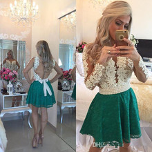 Cocktail-Dresses Long-Sleeves Party Elegant Mini Green Lace Short Pearls A-Line