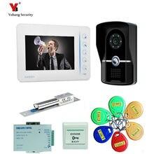 Yobang Security freeship 7″ Video Door Phone Doorbell Video Intercom IR Camera Monitor Electric Strike Lock 5pcs RFID Keyfobs