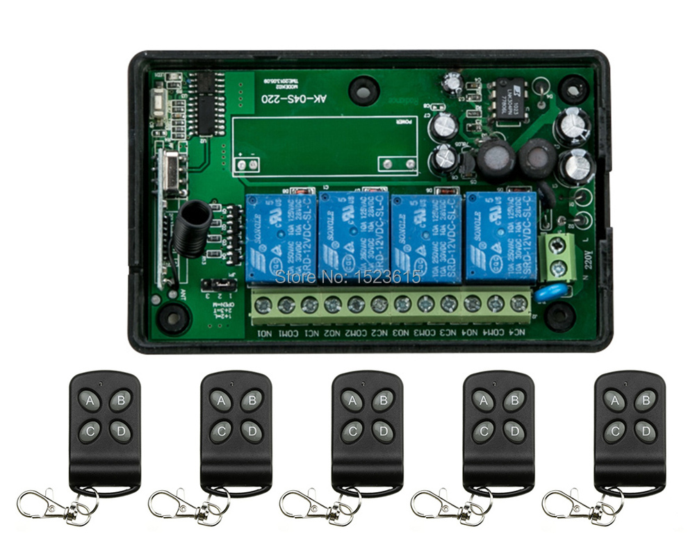 ФОТО AC85v~250V 110V 230V 4CH Wireless Remote Control Switches 220V Relay Output Radio RF Transmitter And 315Mhz /433Mhz Receiver