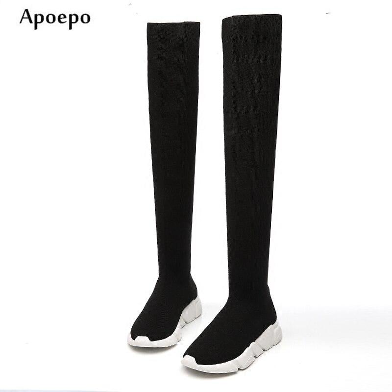 Apoepo Лидер продаж Сапоги выше колена Трикотажные Сапоги и ботинки для девочек для 2018 ...