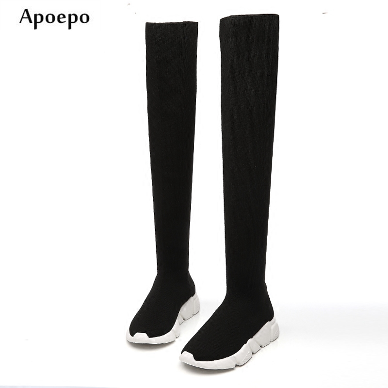 Apoepo Hot Selling Over the Knee Knitted Boots for Woman 2018 Fashion Stretch Fbric Sock Boots Height increasing Thigh high boot hot for the holidays