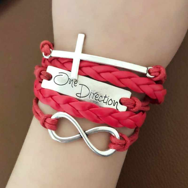 L0147 HOT Multilayer Braided Leather Bracelets Bangles infinite 8 One Direction Cross Cuff Bracelets Vintage Women Men pulseira
