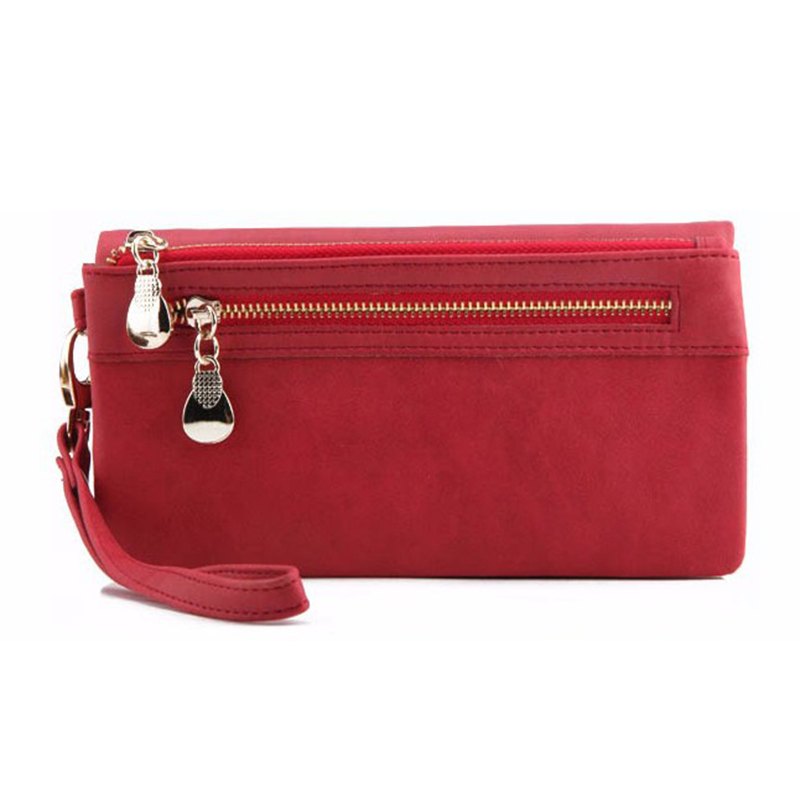 Fashion Women Wallets Dull Polish Leather Wallet Double Zipper Day Clutch Purse Wristlet Portefeuille Handbags Carteira Feminina 4
