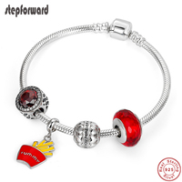 STEP FORWARD Authentic 925 Sterling Silver French Fries Red Enamel Pendant Bracelet & Bangle For Woman Fashion Jewelry WLB009