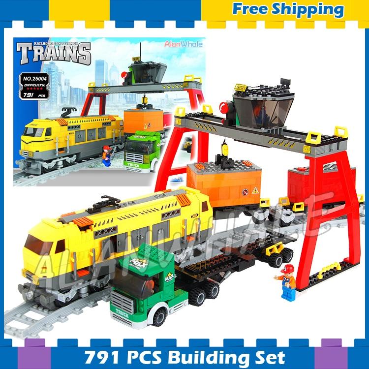 791 pièces créateur classique fret gare camion 25004 modèle blocs de construction cadeaux ensembles chemin de fer piste Compatible avec lego