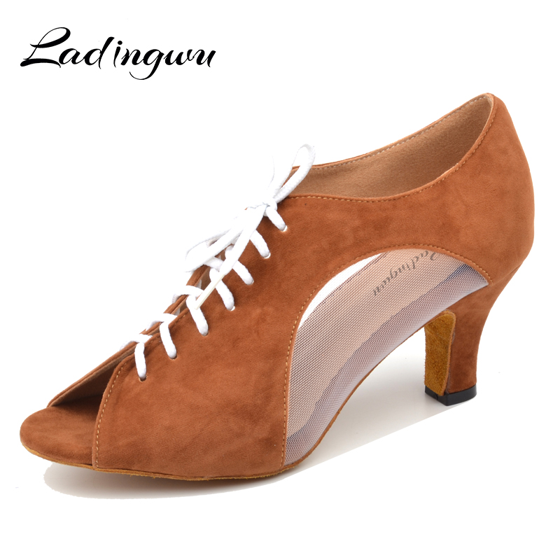 Ladingwu Flannel And Mesh Dance Shoes Latin Woman Salsa Dancing Shoes Red Women Ballroom Shoes Dance Soft Bottom Heel 5/6/7cm