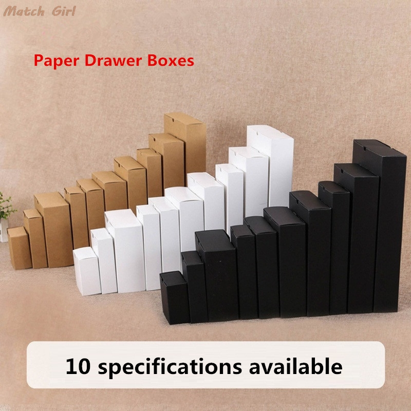 White Drawer Shape Craft Gift Handmade Soap Package Kraft Paper Gift Boxes Black Packaging Cardboard Box