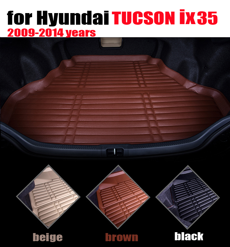car trunk liner for Hyundai TUCSON ix35 2009-2014 years waterproof leather cargo liner car mats cargo mats auto autoaccessories car rear trunk security shield cargo cover for volkswagen vw tiguan 2016 2017 2018 high qualit black beige auto accessories