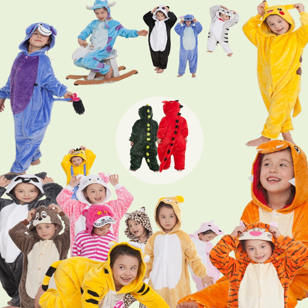 39 style Flannel Pajamas Kids Adults Anime Cosplay Costume Animal Onesies Sleepwear