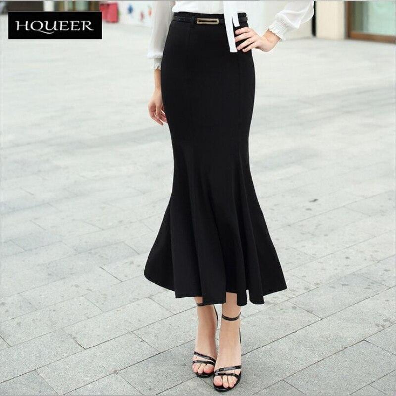Новинка весны 2019, длинная юбка в европейском стиле, модная, OL, посылка, длинная, рыбий хвост, юбки, элегантные, черные, faldas longa с поясом, горячая