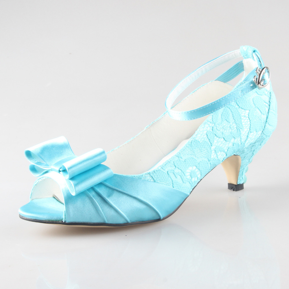 Creativesugar Handmade turquoise lace low heel wedding party prom pumps with pearls party prom bridal wedding shoes big size - 2