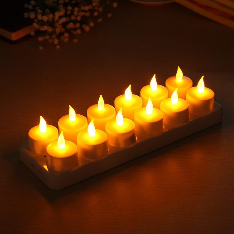 12 шт. LED Перезаряжаемые Flamless Свечи Tealight с мерцающим держатели Свадебные Светодиодные свечи ночник