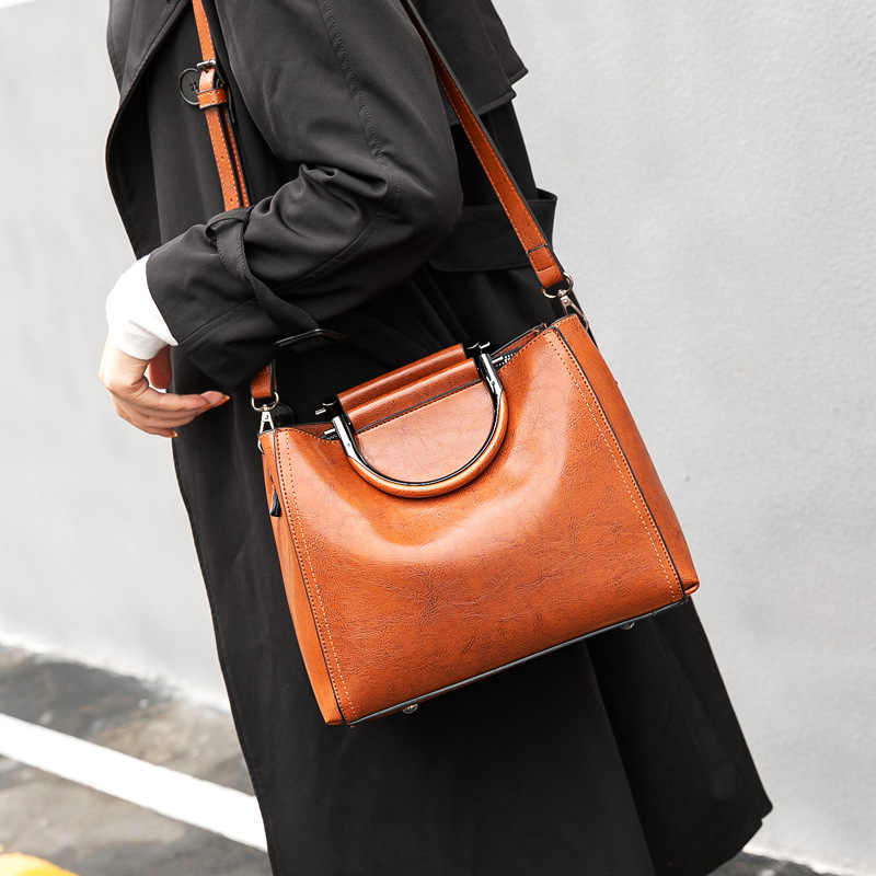 Vintage Tas untuk Wanita 2020 Wanita Kulit Tas Tangan Kualitas Tinggi Besar Tas Atas Pegangan Tas Tote Kasual Sac utama Femme C994