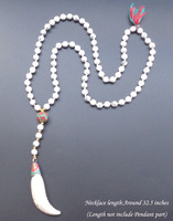8mm white stone with giant clam horns pendant long necklace Nepal Necklace boho jewelry Natural stone necklace for women