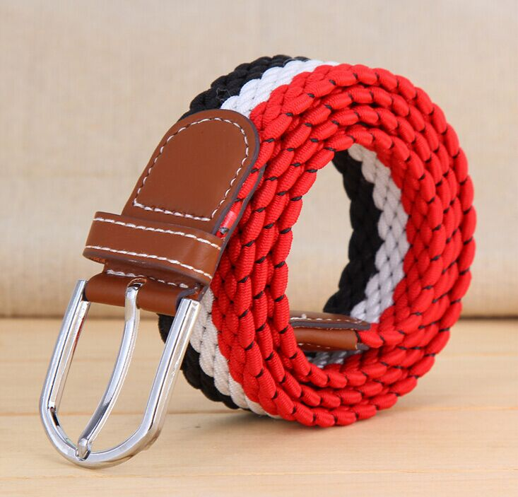 2017 Mens Casual Belts Elastic high quality gentleman mens stripe Canvas belt jeans designer shirts belts for men black blue