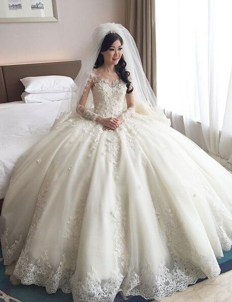Vintage Lace Appliques Long Sleeves Wedding Dress 2016 Ball Gown ...