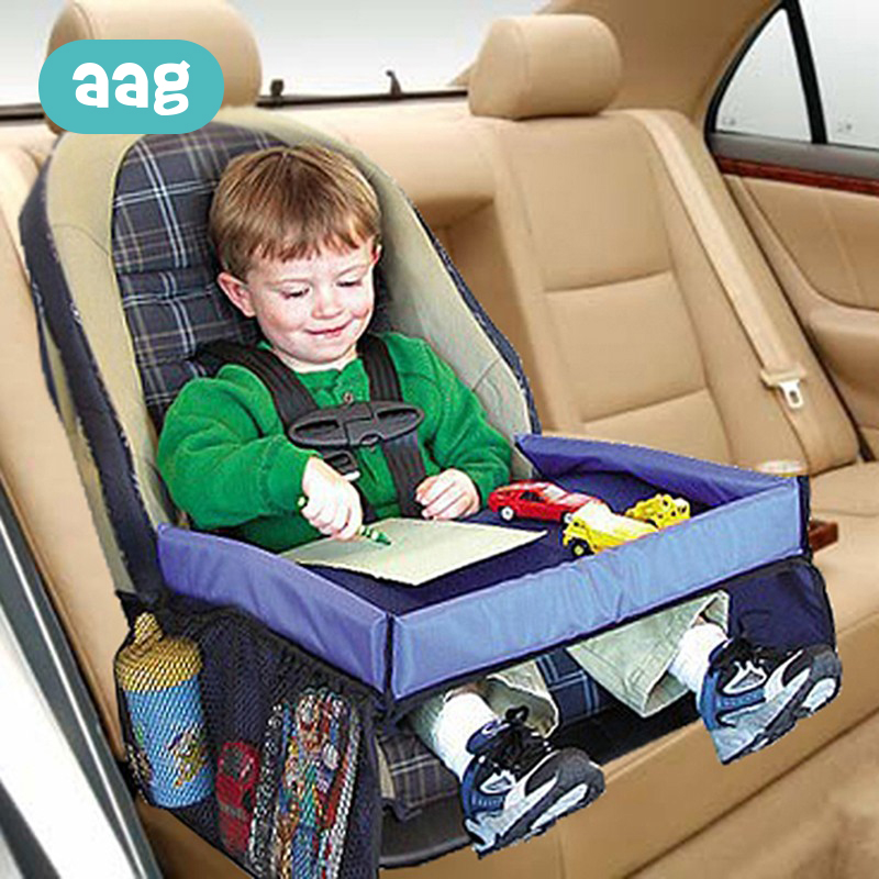 AAG Children Portable Car Table Fence Baby Seat Tray Waterproof Kids Toy Food Holder Storage Desk Infant Car Accessories *