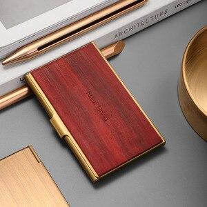 Image 2 - NewBring Mini porte cartes professionnelles en métal en bois mince porte carte didentité de crédit bancaire poche avant pour cadeau