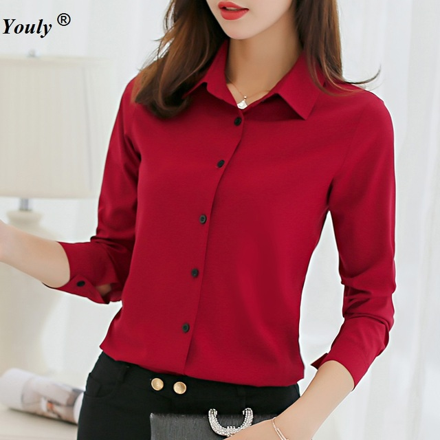 8c1f4a63099 Solid Chiffon Blouses Women Causal Office OL Long Sleeve Blouse Shirt  Simple Design Ladies Formal tops Shirt blusas plus size