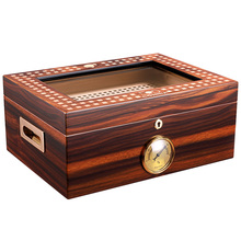 COHIBA Humidor Cedar wood translucent top glass cigar humidor box skylight with hygrometer humidifier CA-0127