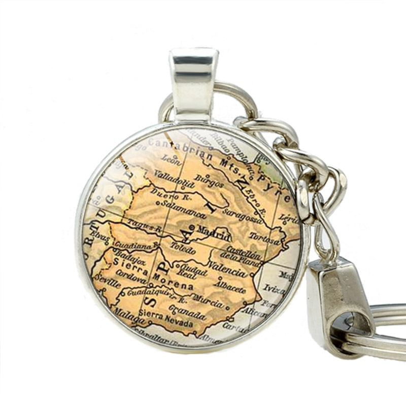 Spain Pendant Keychain Madrid Spain Jewelry Keychains Map Pendant Jewelry Gift Bridesmaid Friendship Gift