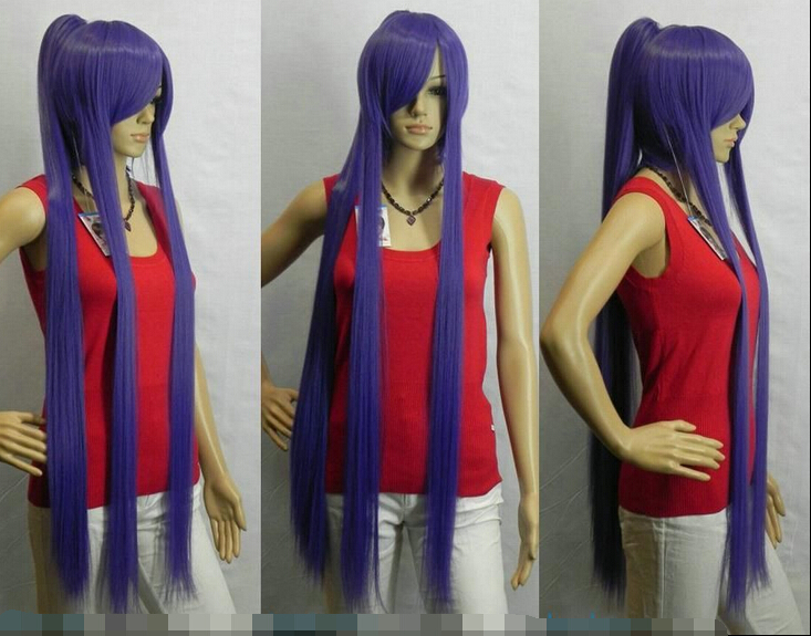 Unique Extra Long Straight Purple Split Cosplay Wig USPS free Shipping 150317 от Aliexpress INT
