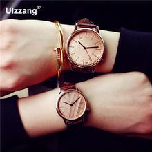 Довольно Мода розовое золото Кожаные модельные туфли кварцевые наручные часы браслет для Для женщин девушек Для мужчин пара