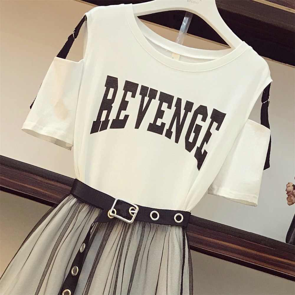2 sztuka zestaw 2020 lato damska bawełniana długa t-shirt bez ramiączek + Mesh przepuszczalność komplety spódniczek kobiety modna, z dziurami pas spódniczki garsonki