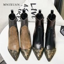 MNIXUAN retro women shoes ankle boots 2019 PU winter warm short plush sexy pointed toe rivets stitching knight big size 42