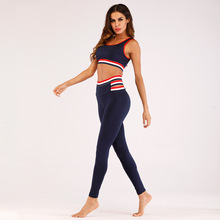2018 2 Piece Set Athleisure print tight suit fitness moisture wicking clothes sports running suit Women's Sets