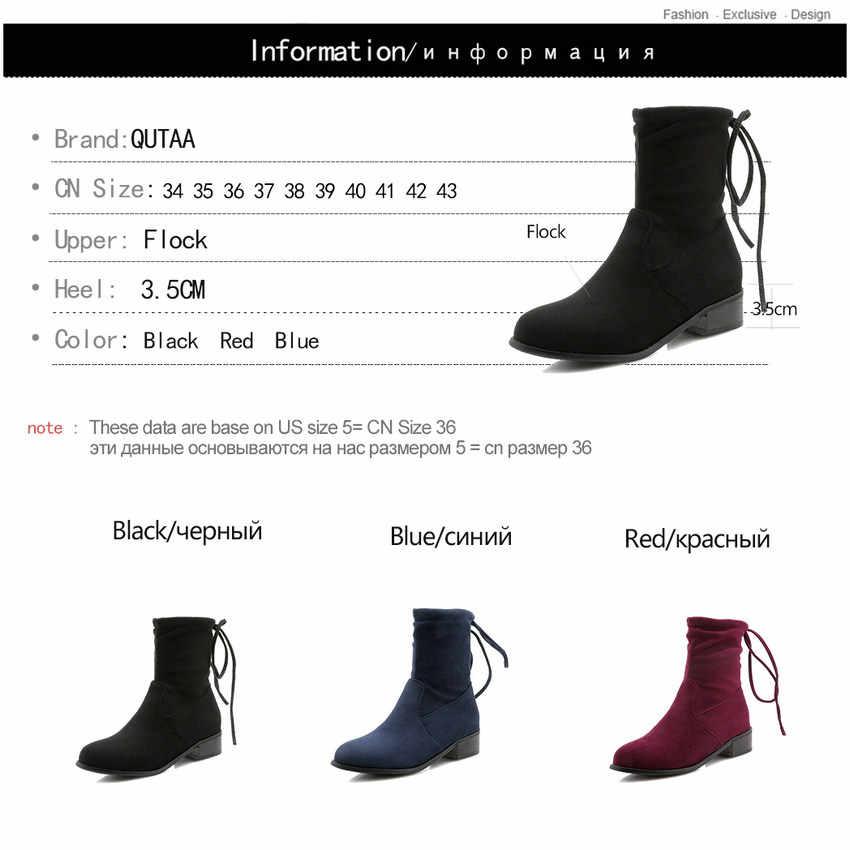 QUTAA 2019 Kadın yarım çizmeler Tüm Maç Platformu üzerinde Kayma Kışlık Botlar Kare Topuk Kadın Ayakkabı Rahat Kadın Çizmeler Büyük Boy 34-43