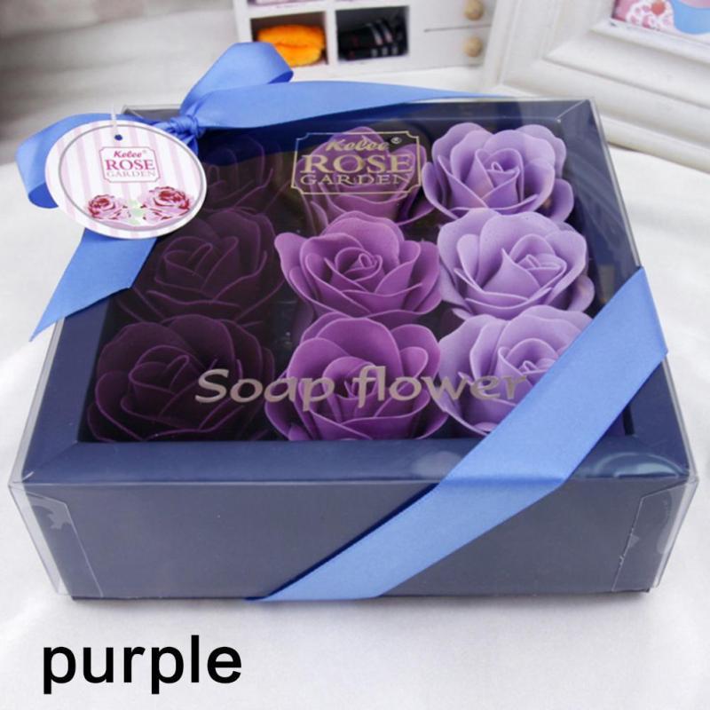9 stks / doos Kleurrijke Hartvormige Rose Zeep Bloem Romantische - Feestversiering en feestartikelen - Foto 4