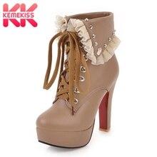 KemeKiss marca de gran tamaño 32-48 Ruffles mujer motos botas Sexy tacones  altos plataforma del Partido zapatos de mujer Botines 37b652d2721b