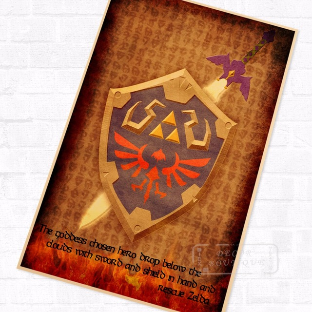 US $3 98 |Sword Shield Symbols the Legend of Zelda Video Game Poster Retro  Canvas DIY Wall Stickers Art Home Bar Posters Decor Gift-in Wall Stickers
