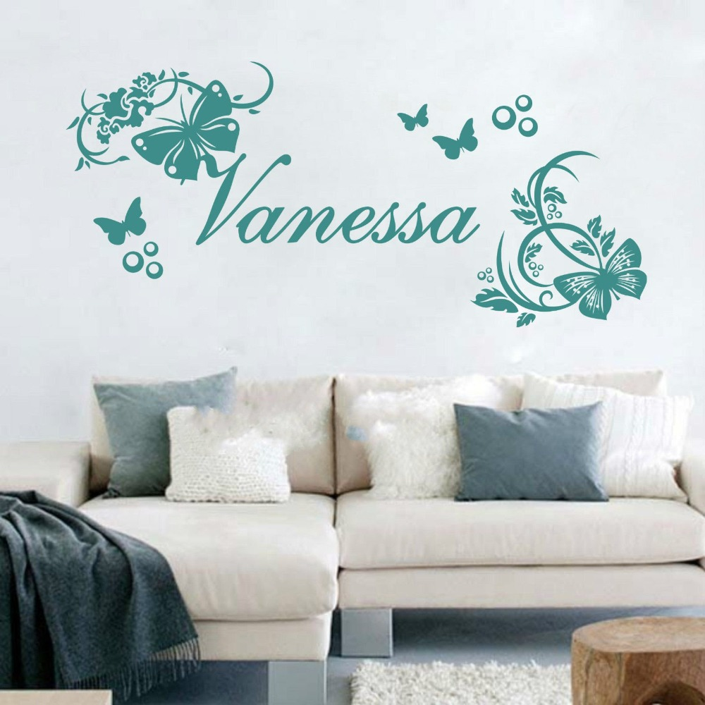 Customer Made Personalised Name Vine Butterflies Flowers Wall Art