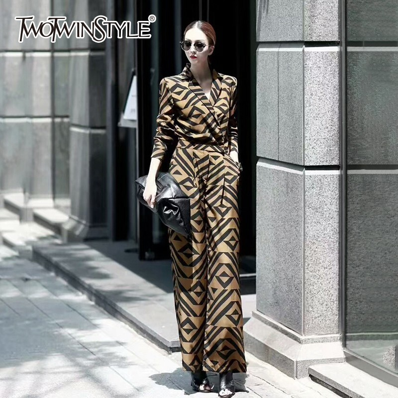 TWOTWINSTYLE Geometric Women's   Jumpsuits   High Waist Tunic Long Sleeve Maxi   Jumpsuit   Female Fashion Autumn 2018 OL Casual Clothes