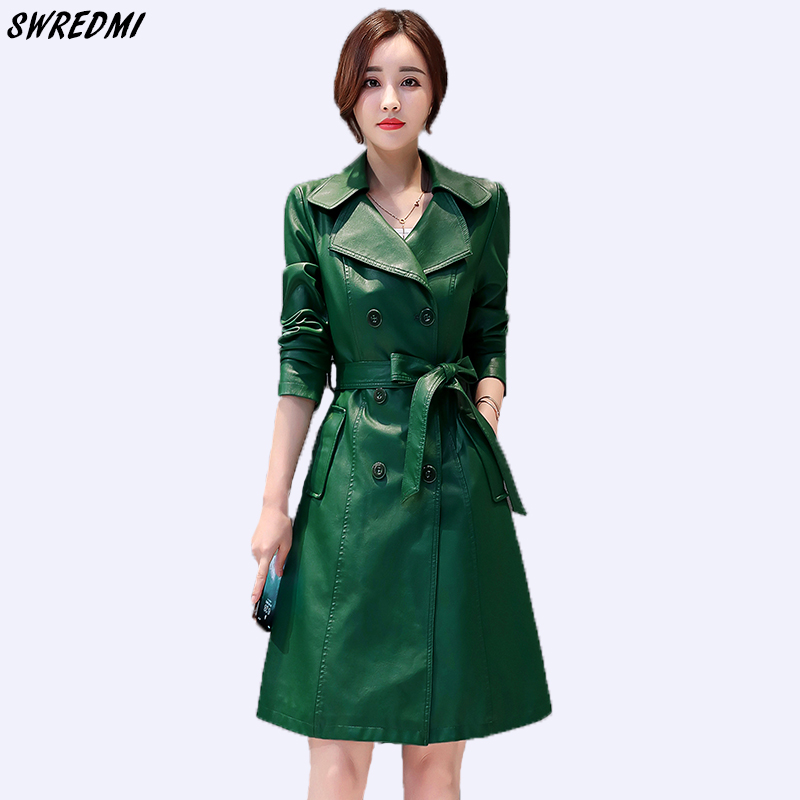 SWREDMI New Spring And Autumn Women   Leather   Trench Double Breasted Office Lady   Leather   Coat Female Plus Size S-3XL Green Jackets