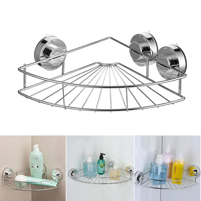 Bathroom Shelf Wall Mounted Shampoo Lotion Basket Rack Suction Cup Er For Kitchen Accessories