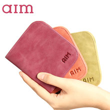 AIM Slim Small Cute Wallet for Women Brand Design Credit Card Holder Oil Wax Genuine Leather Wallets Gift Purse for Girl Teen