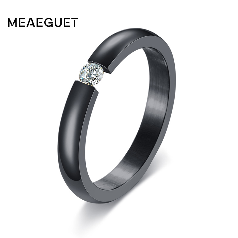 Meaeguet Women Wedding Rings With Cubic Zirconia Wholesale Stainless Steel Wedding Bands For Women Men Jewelry