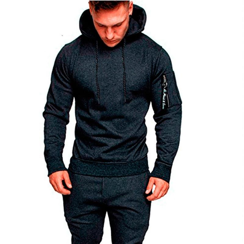 Hirigin Men Tracksuit Autumn Winter Active Suit Set Outwear Hooded Hoodies And Long Pants #6