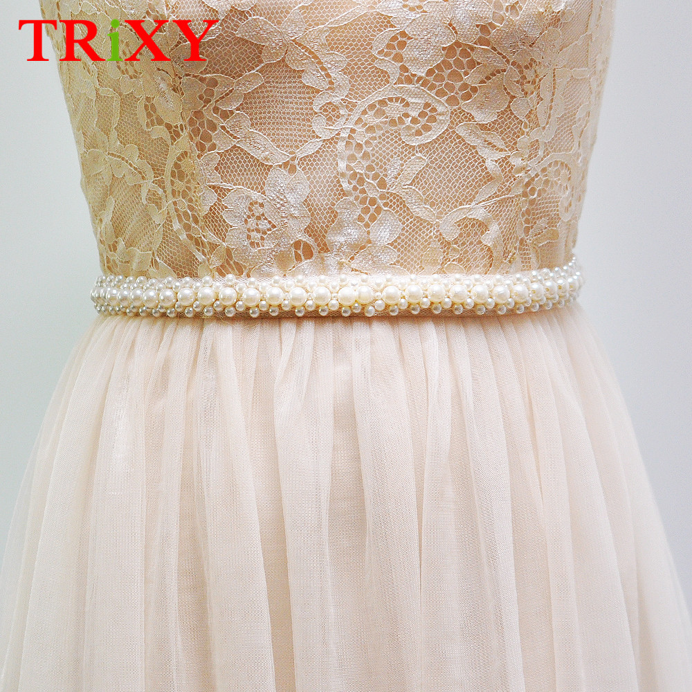 Trixy S71 Rhinestones Pearl Thin Wedding Belts Wedding Sash Pearls Beaded Bridal Belts Sash Dress Belt Bridesmaid Belt Sashes Wedding Accessories Bridal Blets