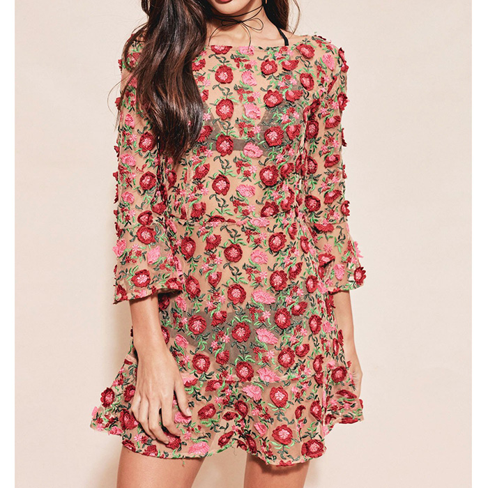 2019 Ladies Dresses new flower embroidery beauty fried days pretend dress Bohemia holiday in Dresses from Women 39 s Clothing