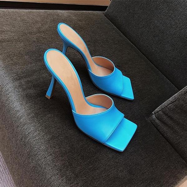 2019 modny plac Toe kapcie kobieta Peep Toe wysokie obcasy muły kobieta prawdziwej skóry letnie sandały Zapatos De Mujer w Kapcie od Buty na  Grupa 3