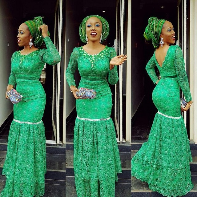Custom Plus Size Green Mermaid Evening Dresses Long Sleeves Lace Crystal Nigerian  Prom Gowns Aso Ebi Women Formal Party Wear a00ebe9068de