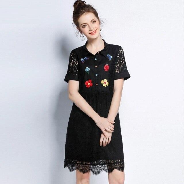e7af92c0edc03 New 2017 Plus Size Women Embroidery Elegant lace Dress turn down collar  short sleeve cute Dress casual vestidos tunic XXXXXL3509